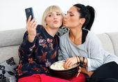 Two woman friends making selfie picture — Stok fotoğraf