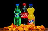 Coca cola, fanta and sprite — Stock Photo