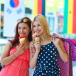 Two girls with ice cream — Stock Photo
