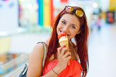 Attractive woman with ice cream — Стоковое фото