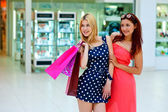 Two attractive woman friends with shopping bags — Stockfoto