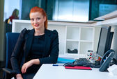 Attractive business woman in office cubicle — Stock Photo