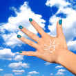 Woman hand with sunscreen lotion — Stock Photo #51392397