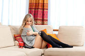Attractive blond woman relaxing — Stock Photo
