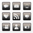 Social media icons set — Stock Vector