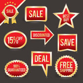 Vector Set of Foiled Sale Badges — Stock Vector