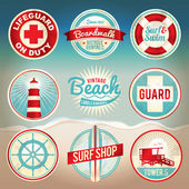 Vintage Beach Labels and Badges — Stock Vector