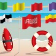Lifeguard Equipment and Warning Flags on the Beach — 图库矢量图片