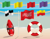 Lifeguard Equipment and Warning Flags on the Beach — Stock Vector