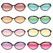 Colorful Set of Sunglasses — Stock Vector