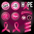 Breast Cancer Awareness Ribbons and Badges — Stok Vektör