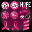 Breast Cancer Awareness Ribbons and Badges — Imagens vectoriais em stock