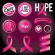 Breast cancer awareness band och emblem — Stockvektor