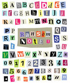 Ransom Note No. 1- Cut Paper Letters, Numbers, Symbols — Stock Vector
