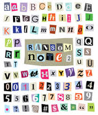 Ransom Note No. 2- Cut Paper Letters, Numbers, Symbols — Vector de stock