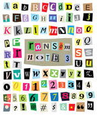Ransom Note No. 3- Cut Paper Letters, Numbers, Symbols — Stock Vector