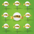 Vecteur: Golf ball and banner design elements