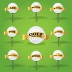 piłeczki do golfa i transparent elementy projektu — Wektor stockowy
