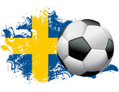 Sweden Soccer Grunge Design — Stock Vector