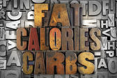 Fat Calories Carbs — Stock Photo