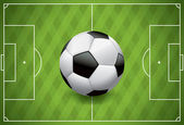 Realistic Football Soccer Ball on Textured Field — Stock Vector