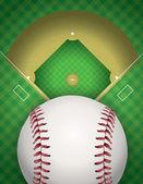 Baseball and Baseball Field Illustration — Stock Vector