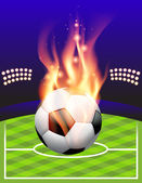 Flaming Soccer Football Background — Stock Vector