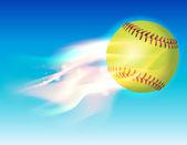Flaming Softball in Sky Illustration — Stock Vector