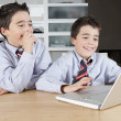Stock Photo: Two identical twin brothers sharing a laptop computer to do their homework
