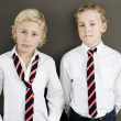Two school kids wearing uniform standing next to each other on a brown background. — Stock Photo #19824499