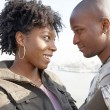 Close up portrait of a young black tourist couple visiting London city — Stock Photo