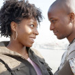 Close up portrait of a young black tourist couple visiting London city — Stock Photo #20082463