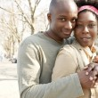 Attractive african american couple visiting London and hugging — Stock Photo #20082757