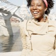black woman on vacations, visiting London city — Foto Stock