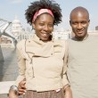 Black couple on vacations, visiting London city — Stock Photo