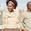 Black couple on vacations, visiting London city  — Foto de Stock