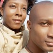 Attractive african american couple with their heads together standing by the Tower of London — Stock Photo #20082921