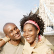 Young attractive black couple visiting the Tower of London — Stock Photo #20082985