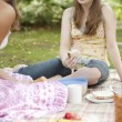 Stock Photo: Teenage girls having a picnic in the forest.