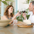 Mature cople toasting with red wine while having healthy lunch outdoors. - Stock Photo