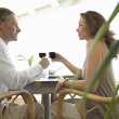 Mature couple toasting with red wine while having lunch in a hotel. — Stock Photo #20083567