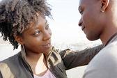 Portrait of a young black tourist couple visiting London city — Stock Photo