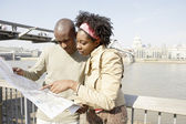 Young african american couple near London's St. Paul's Cathedral — Stock Photo