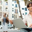Business in a city scene, outdoors. — Stock Photo