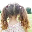 Rear view of a young girl's ponytails standing in the park. — Stock Photo