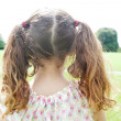 Rear view of a young girl's ponytails standing in the park. — Stock Photo #20205273