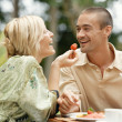 Young couple eating a luxury breakfast — Stock Photo