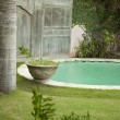 View of a tropical garden with swimming pool - Stok fotoğraf