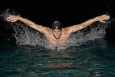 Olympic swimmer training for the butterfly stroke in a swimming pool. — Stockfoto