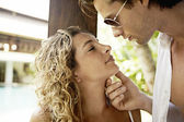 Attractive young couple about to kiss. — Stock Photo
